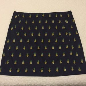 NWT J. Crew Navy & Pineapple Print Skirt